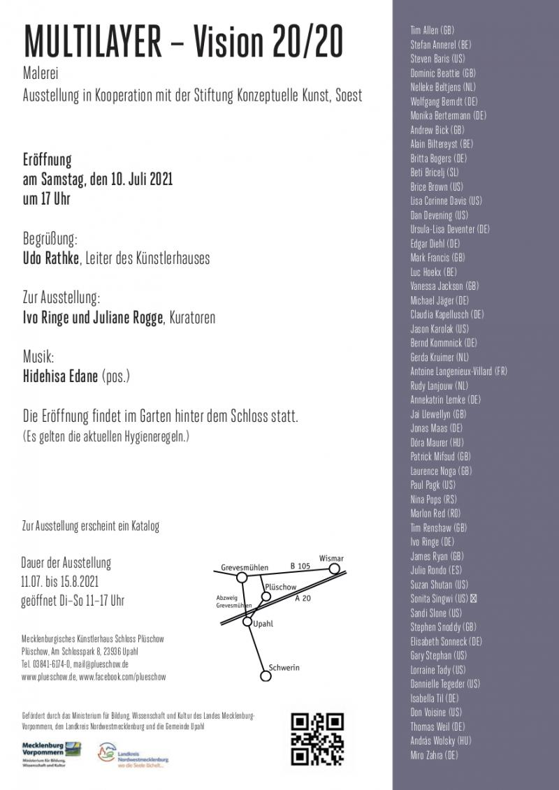 """July 10, 2021 - August 8,  2021, """"MULTILAYER-VISION 20/21"""", Mecklenburgisches Künstlerhaus, Schloss Plüschow"""
