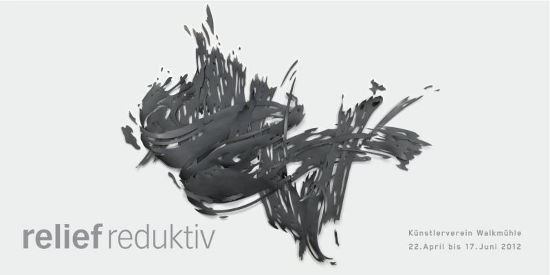 Relief von Andreas Kocks, schwarze Papierformen frei auf die Wand apliziert