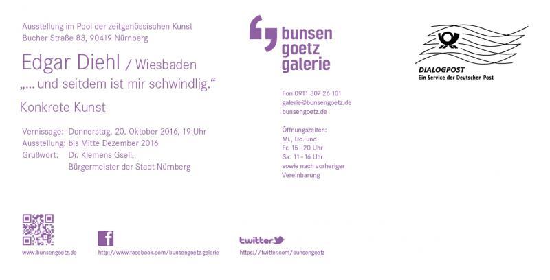 Invitatiion Edgar Diehl, Solo-Show, Bunsen/Götz Gallery Nürnberg