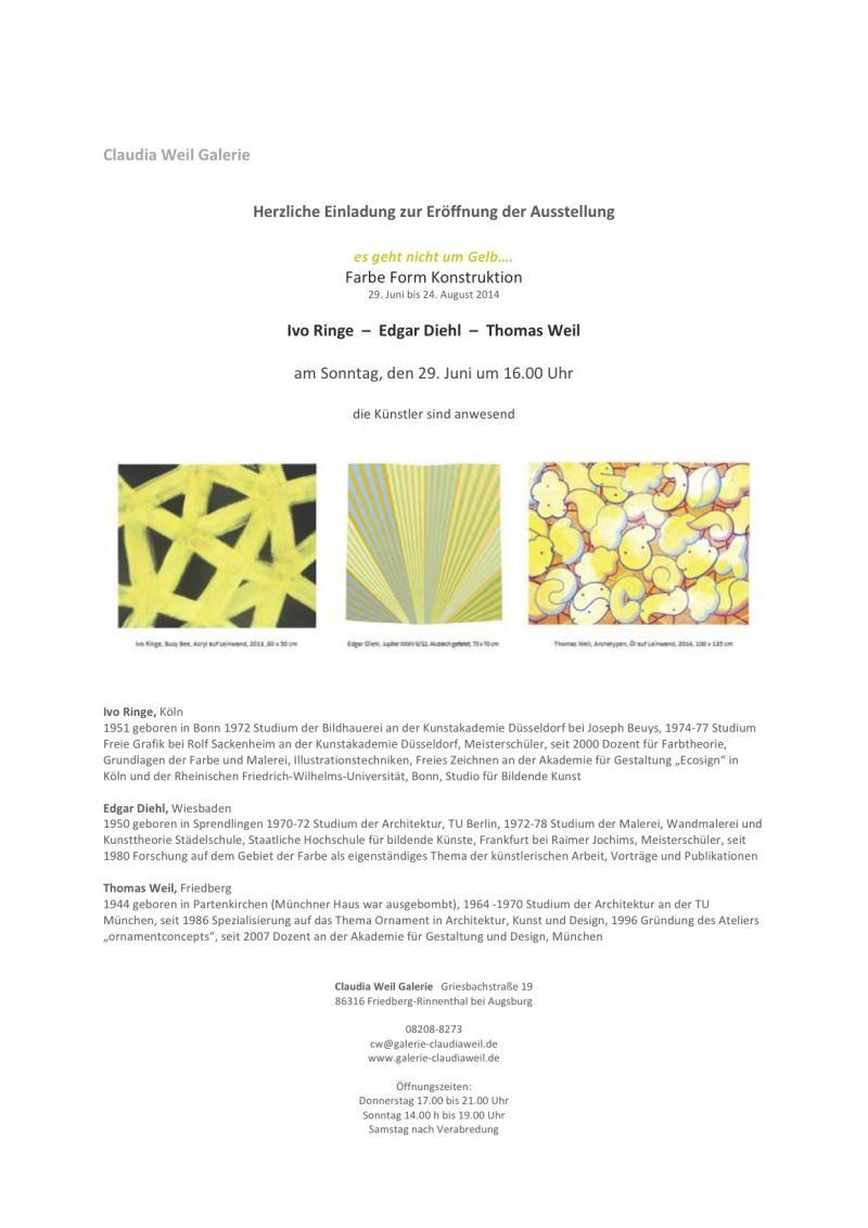 """Ausstellung """" es geht nicht um gelb"""" Galerie Claudia Weil, Friedberg / Bayern"""