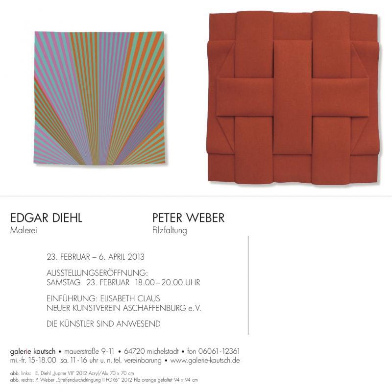 Einladung der Galerie Veronika Kautasch, Ausstellung Edgar Diehl + Peter Weber
