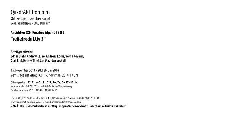 """""""reliefreduktiv"""" at """"QuadrART Dornbirn"""" in Austria,"""