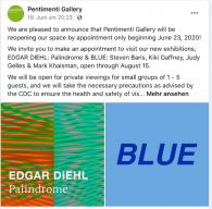 """reopening of """"PALINDROME"""" and """"BLUE"""""""
